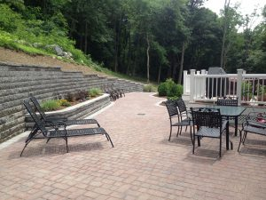 landscape paver patio with walkway
